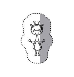 Sticker of grayscale contour of giraffe vector