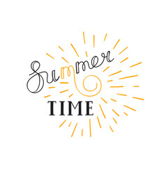 Summer time lettering logo hand drawn typographic vector