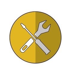 Support repair tools sign icon yellow shadow vector