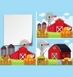Three scenes with barns and chickens vector