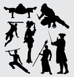 using weapon people activity silhouette vector image