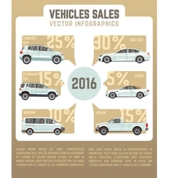 Vehicles sales infographics in flat style vector