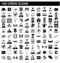 100 crew icons set simple style vector image