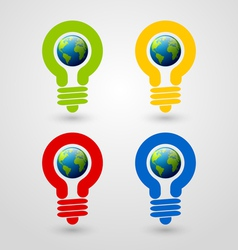 Light bulb earth icons vector