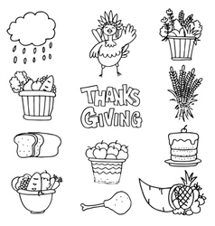 Thanksgiving set object on doodles vector