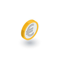 Euro coin currency isometric flat icon 3d vector