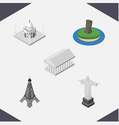 Isometric travel set of athens india mosque rio vector