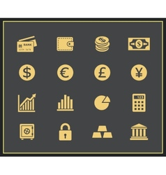 Financal icons set vector