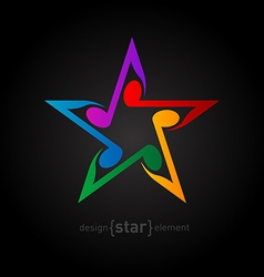 Colorful star with wavy notes on black background vector