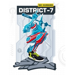 Armed robot from district 7 vector