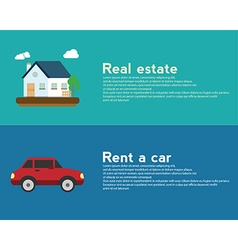 Real estate and rent a car design banner concept vector