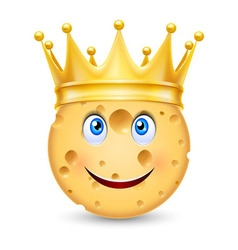 Golden crown on cheese vector