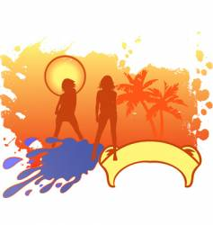 girls vacation logo vector image