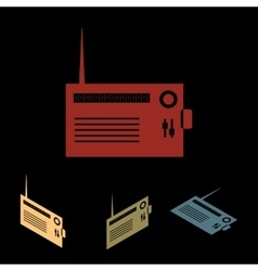 Radio silhuette icon set vector