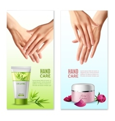 Natural hand cream 2 realistic banners vector