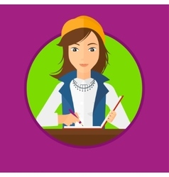 Journalist writing in notebook with pencil vector