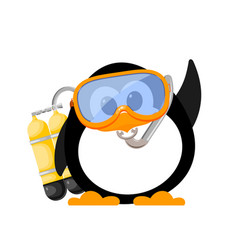 abstract image of a cute penguin with a mask and vector image vector image