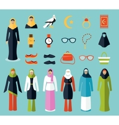Arab woman accessories and clothes icons vector