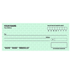 Bank check template vector image