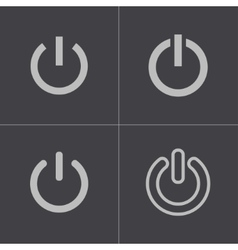 Black shut down icons set vector