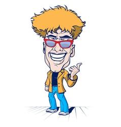 cartoon smile crazy man vector image vector image