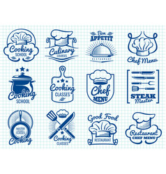 chef retro labels collection - restaurant or cafe vector image