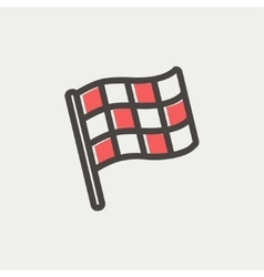 Chekered flag for racing thin line icon vector image vector image
