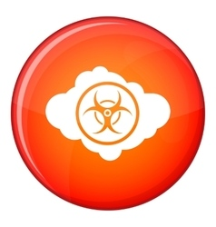 Cloud with biohazard symbol icon flat style vector