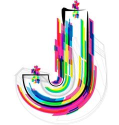 Colorful font letter j vector