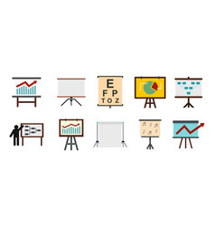 conference banner icon set flat style vector image