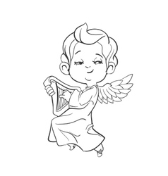 Cute baby angel making music playing harp vector image