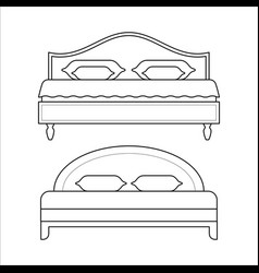 Double beds - furniture for bedroom vector
