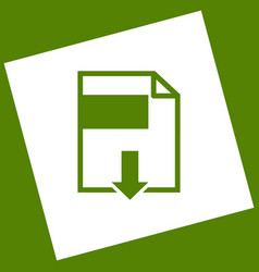 File download sign white icon obtained as vector