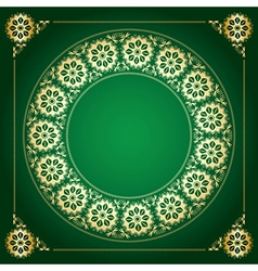 green background with golden floral frame vector image