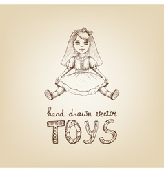 Hand-drawn of a vintage toy doll vector image