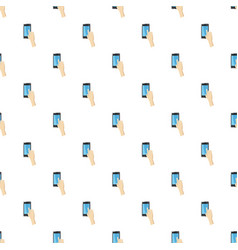 hand pointing on smartphone pattern vector image vector image