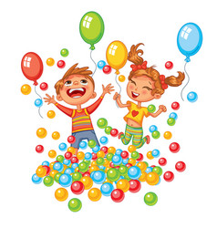 Happy boy and girl playing with colorful balls vector