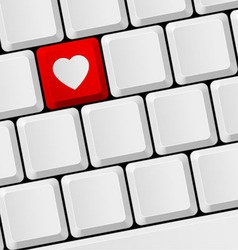 Keyboard with heart button vector image vector image