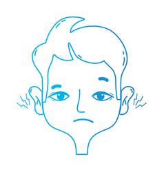 line man with otitis earache illness infection vector image