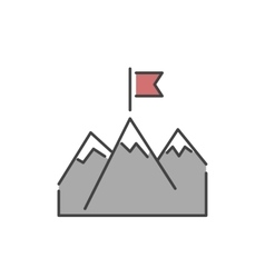 Line mountains with flag icon vector