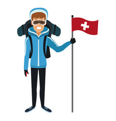 Man winter clothes with backpack and flag vector