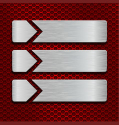 metal scratched plates on red perforated vector image vector image