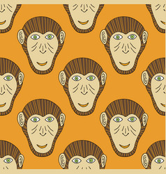 Monkey head seamless stylized background for vector