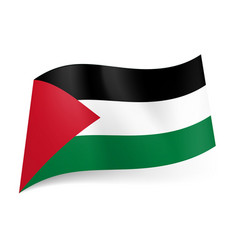 National flag of palestine black white and green vector