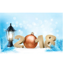 new year background with a 2018 and ball vector image vector image