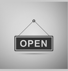 Open door sign flat icon on grey background vector