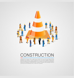 People crowd with traffic cone vector