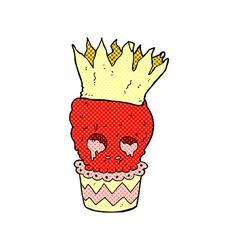 Spooky skull cupcake comic cartoon vector