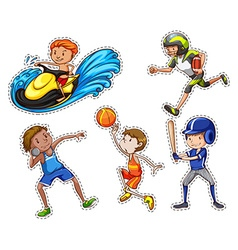 Sticker set with people doing sport vector image vector image