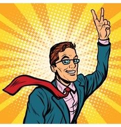 Successful retro businessman a gesture of victory vector image vector image
